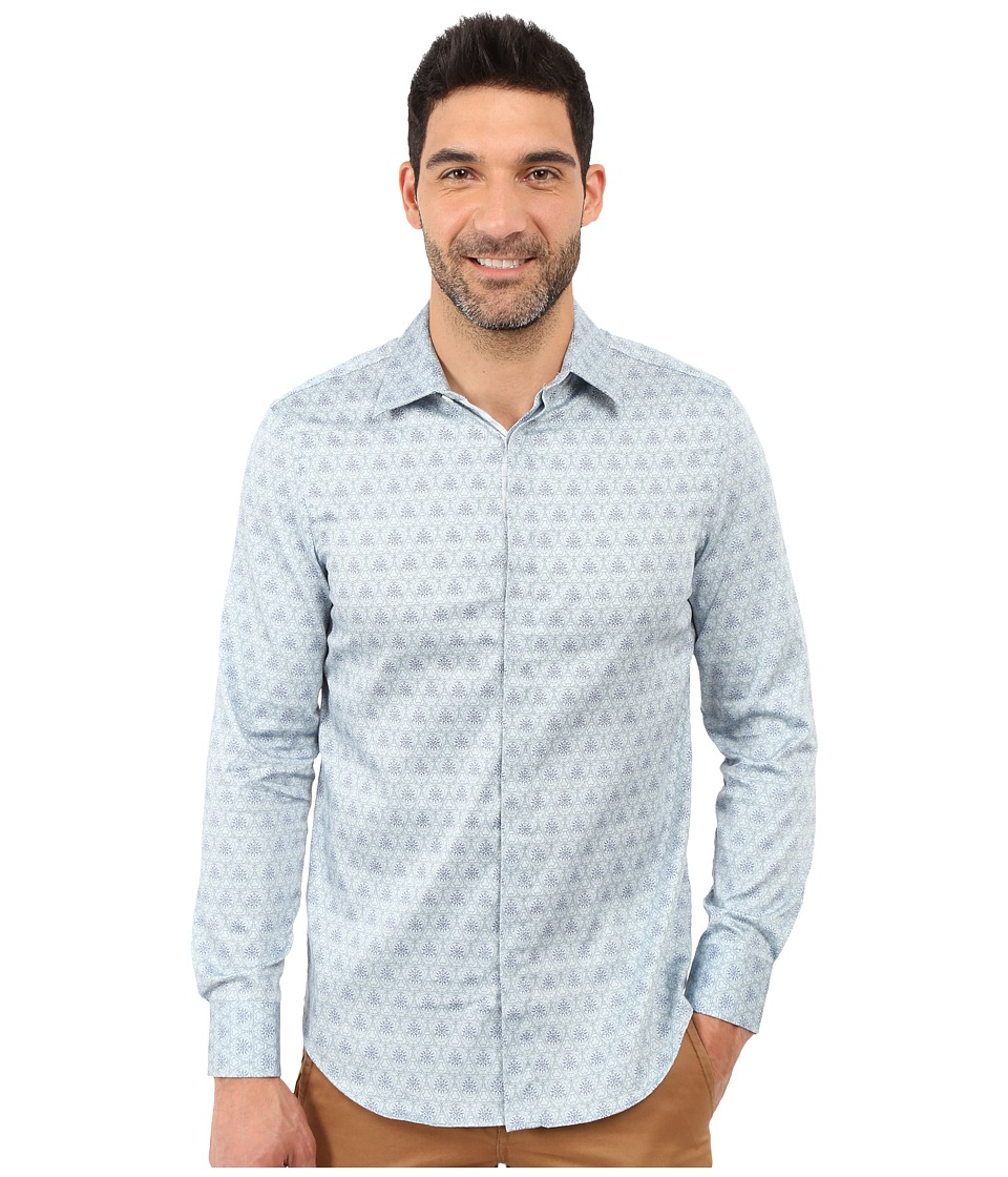 Perry Ellis - Slim Fit Scribble Print Shirt (Baby Blue) Men's Clothing