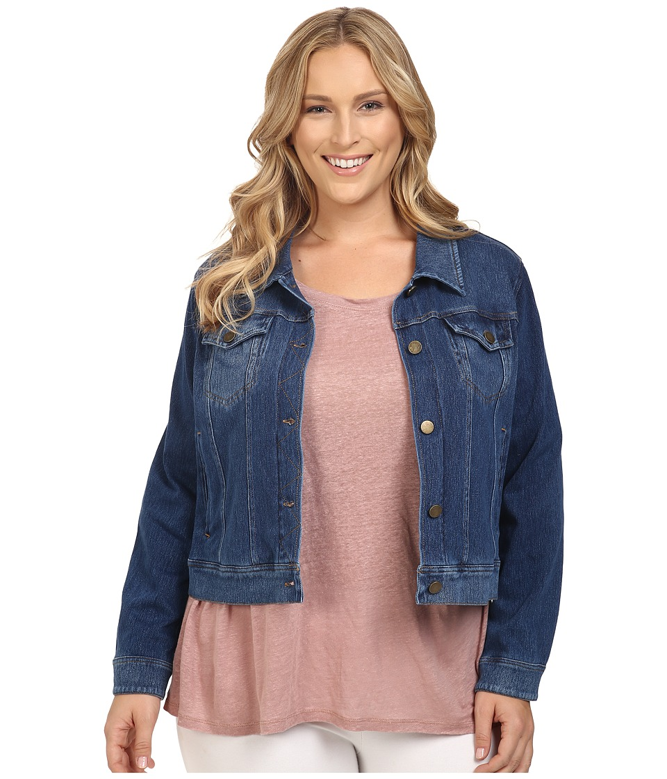 Lysse - Plus Size Stretch Denim Jacket (Mid Wash) Women's Coat