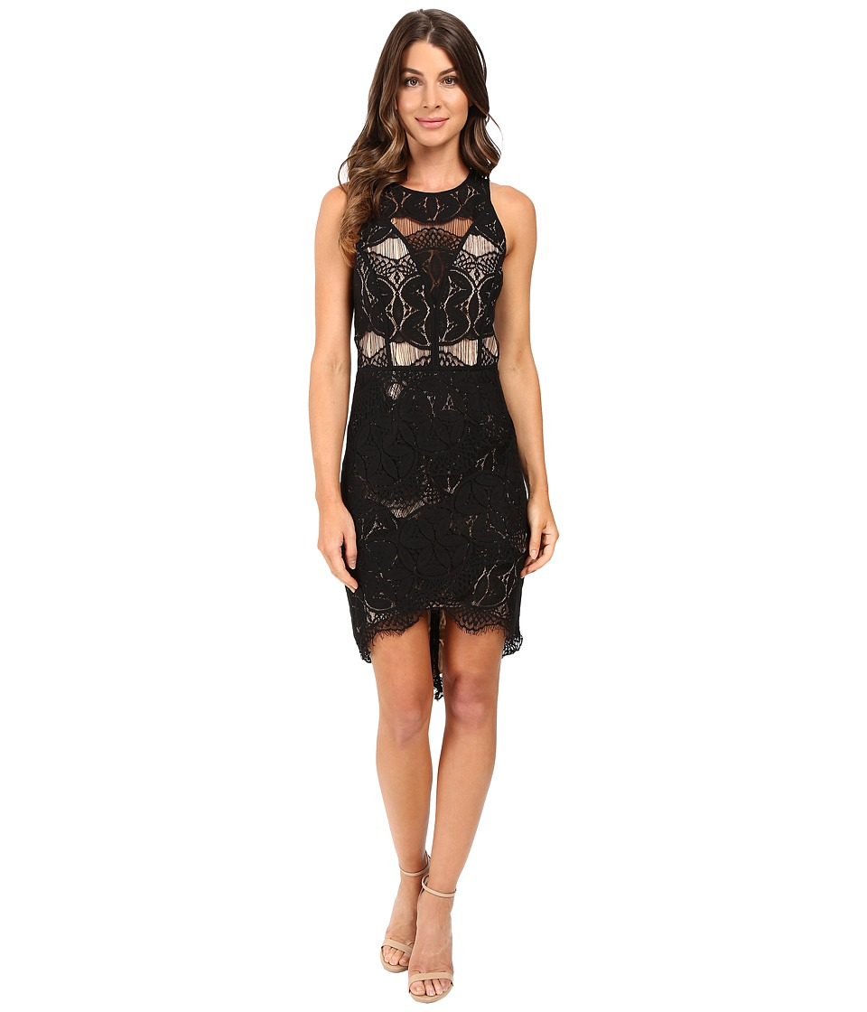 Adelyn Rae - Lace Shirt Tail Dress (Black/Nude) Women's Dress