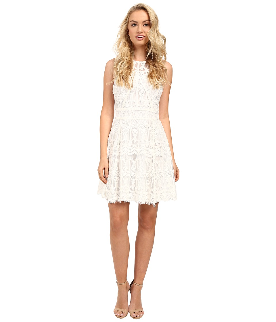 Adelyn Rae - Lace Fit and Flare Dress w/ Gro Grain Contrast Trim (White) Women's Dress