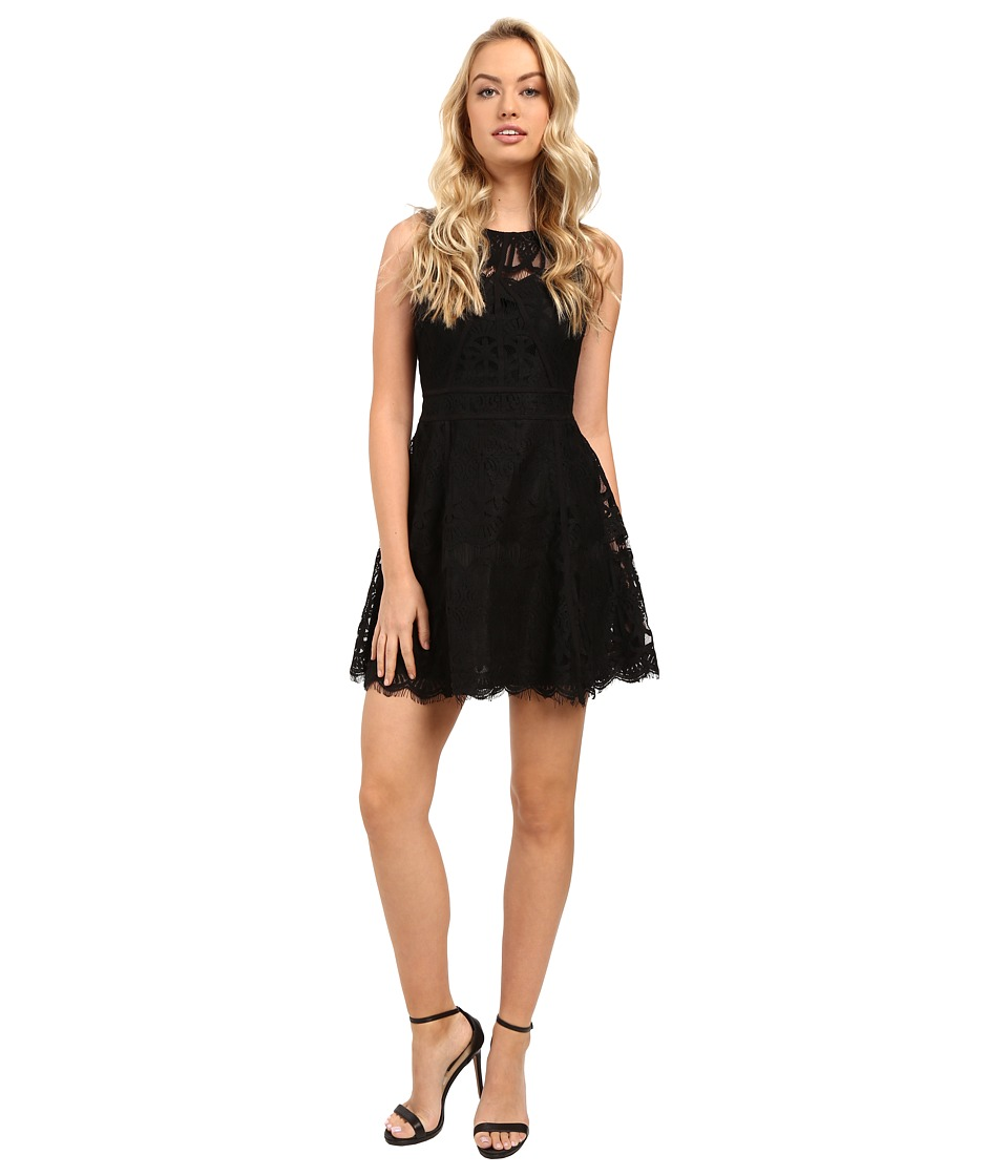 Adelyn Rae - Lace Fit and Flare Dress w/ Gro Grain Contrast Trim (Black) Women's Dress