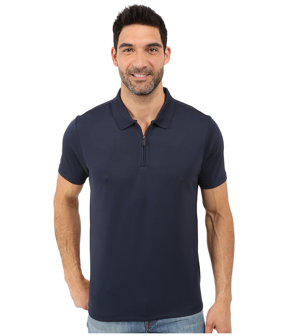 Perry Ellis - Solid Polo with Zipper Closure (Dark Sapphire) Men's Short Sleeve Knit