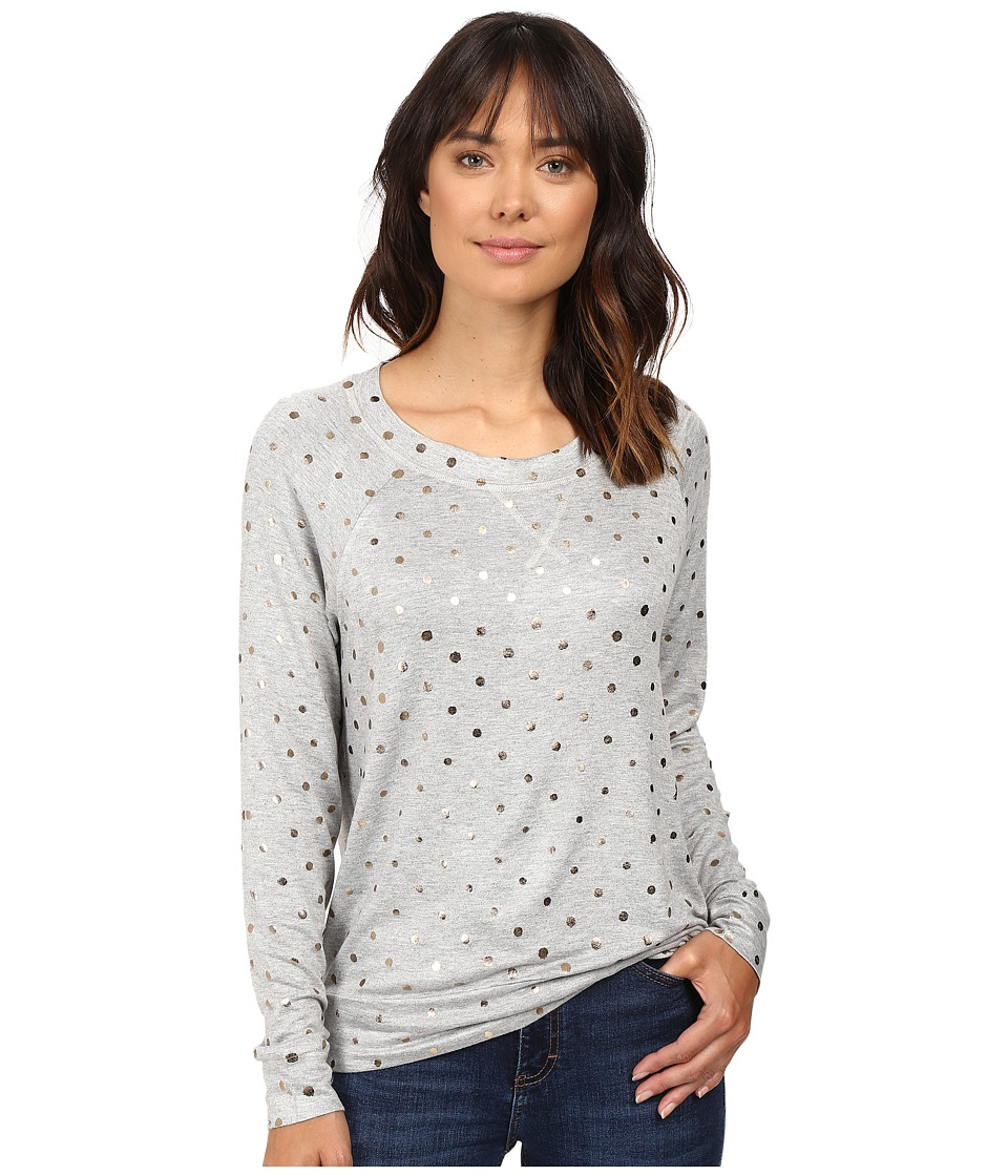 Splendid - Corrine Polka Dot Sweatshirt (Heather Grey/Rose Gold) Women's Sweatshirt