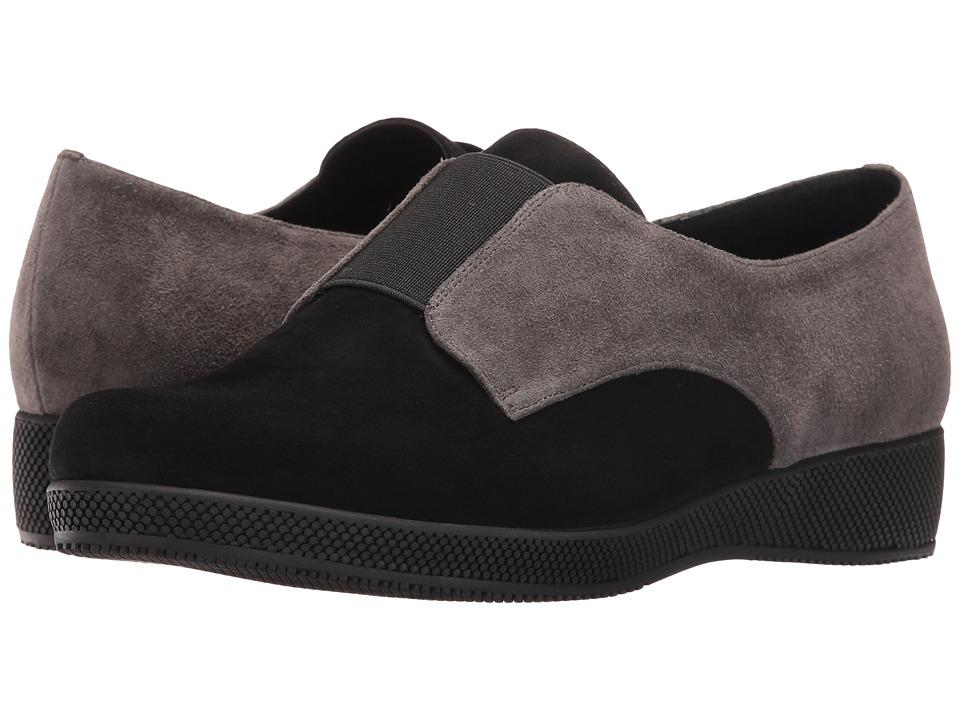 Vaneli Alfi (Black Suede/Grey Suede/Black Elastic) Women's Slip on Shoes