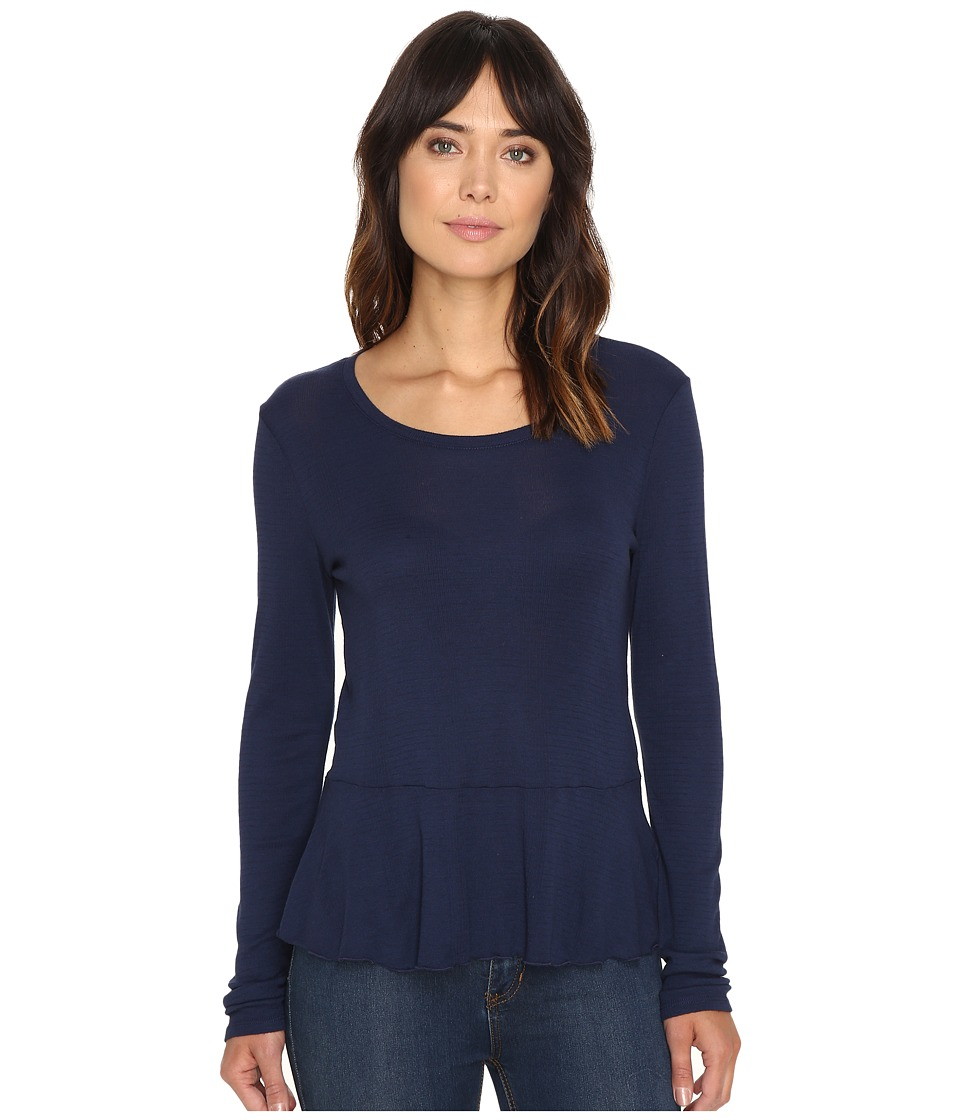 Splendid - Codette Mini Rib Peplum Top (Academy Navy) Women's Clothing