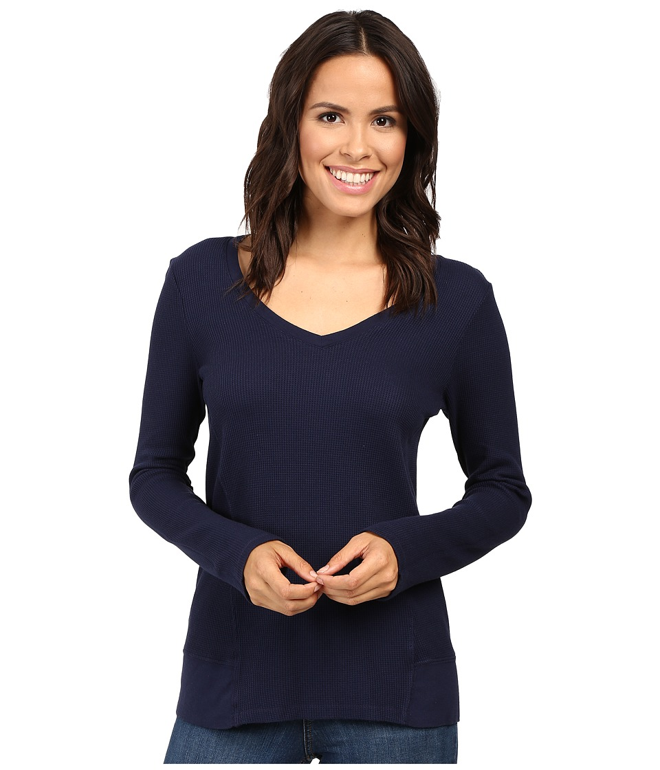 Splendid - Thermal V-Neck Long Sleeve (Academy Navy) Women's Clothing