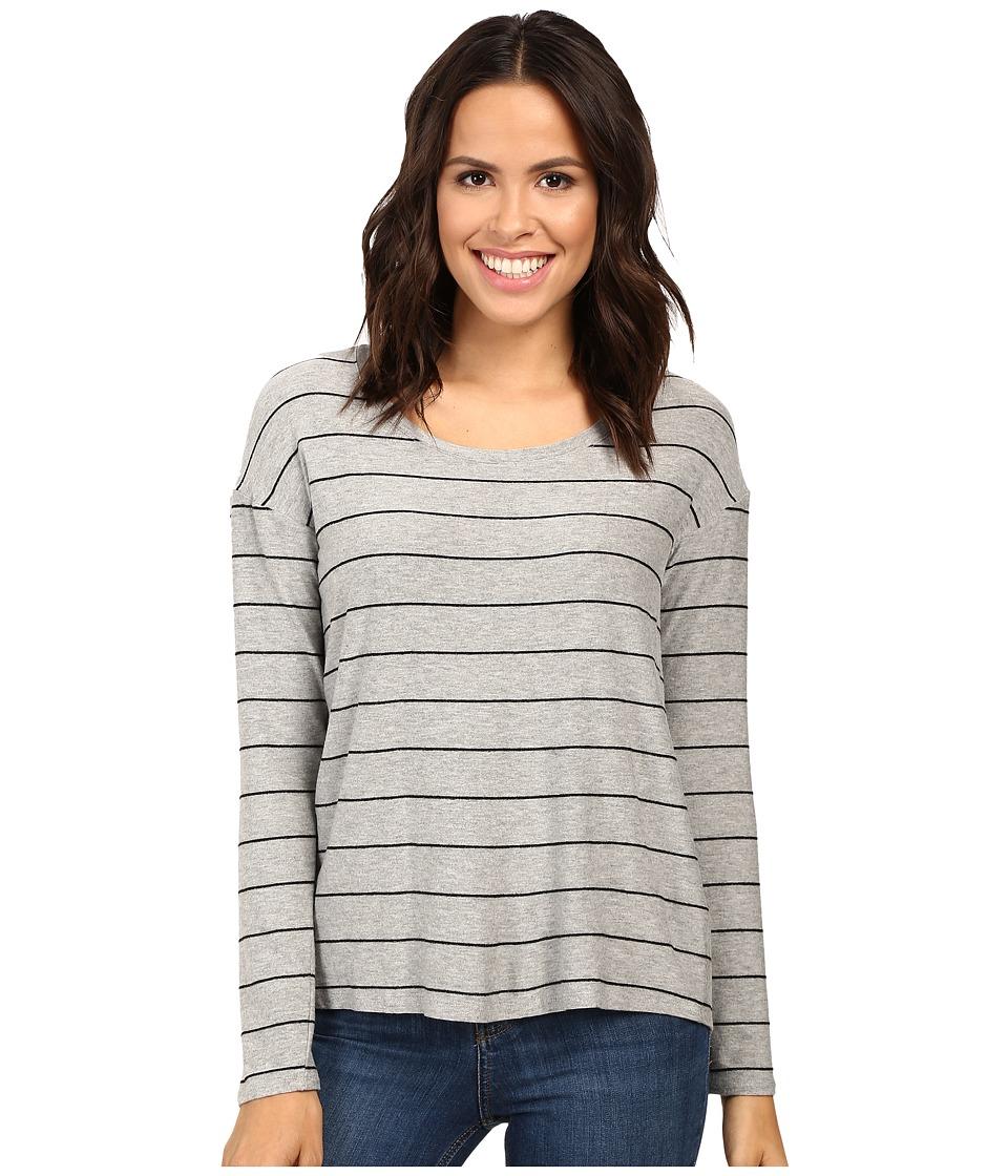 Splendid - Loralie Stripe Back Detail Top (Heather Grey) Women's Clothing