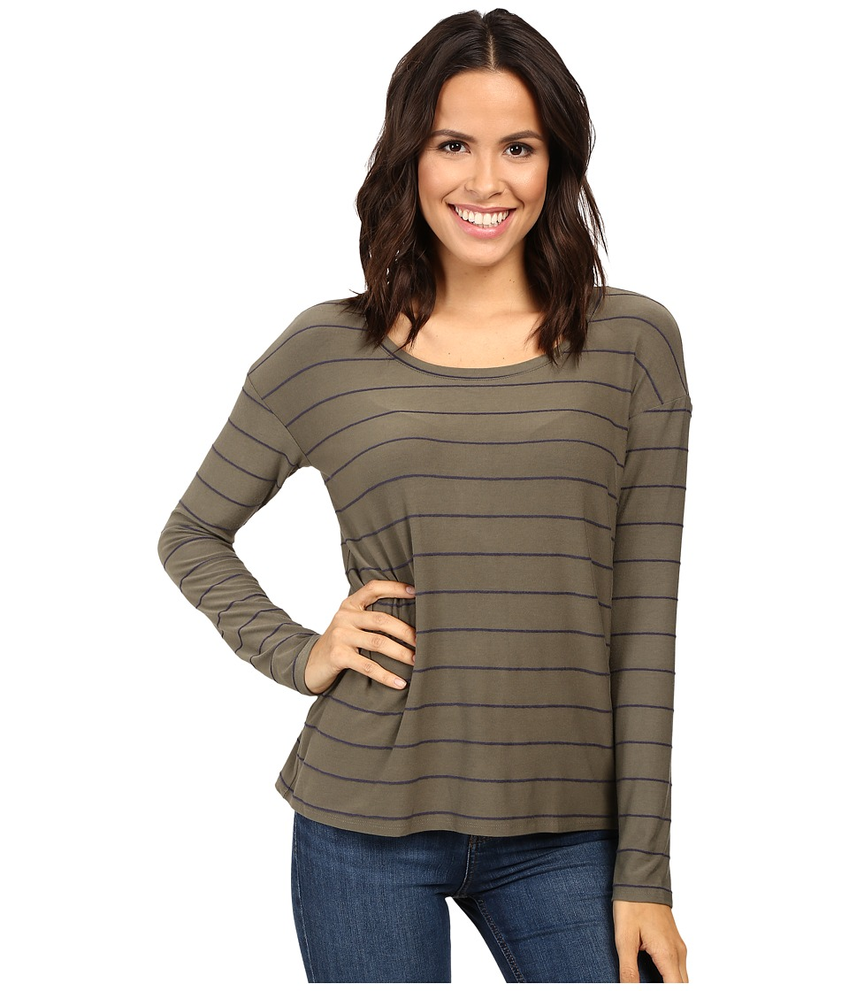Splendid - Loralie Stripe Back Detail Top (Military Olive) Women's Clothing