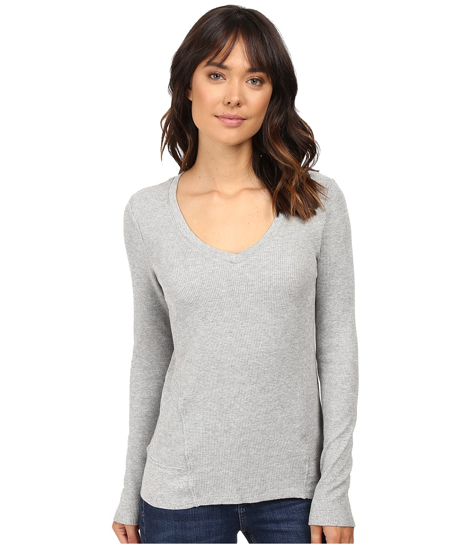 Splendid - Thermal V-Neck Long Sleeve (Heather Grey) Women's Clothing