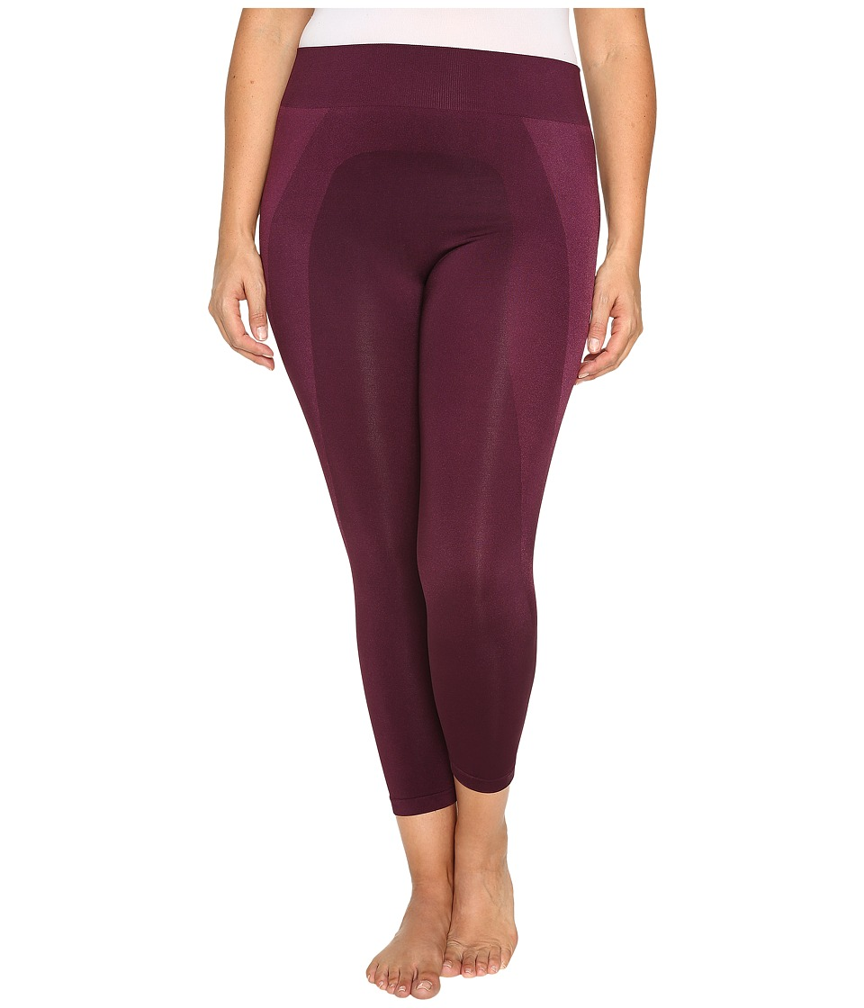HUE - Plus Size Seamless Shaping Capris (Deep Burgundy) Women's Capri