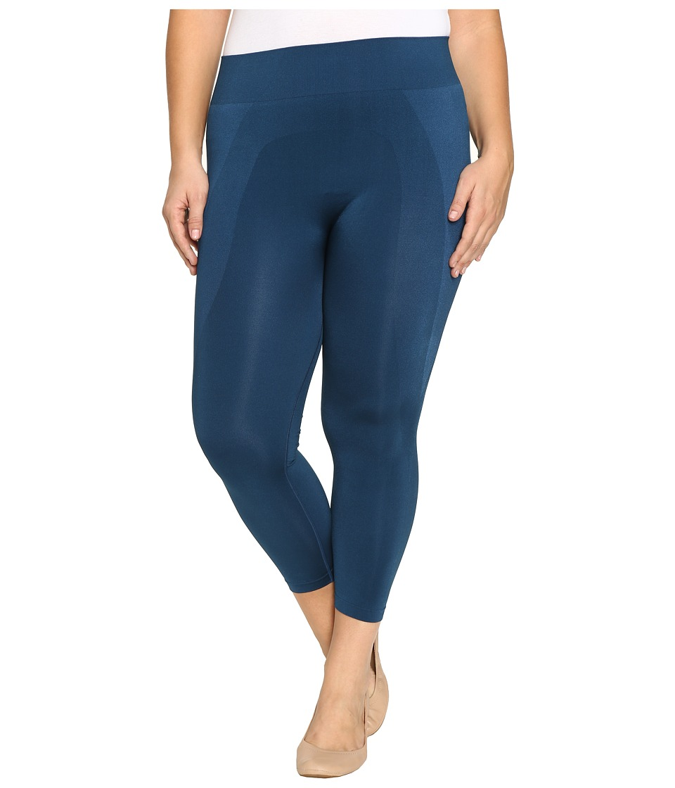 HUE - Plus Size Seamless Shaping Capris (Insignia Blue) Women's Capri