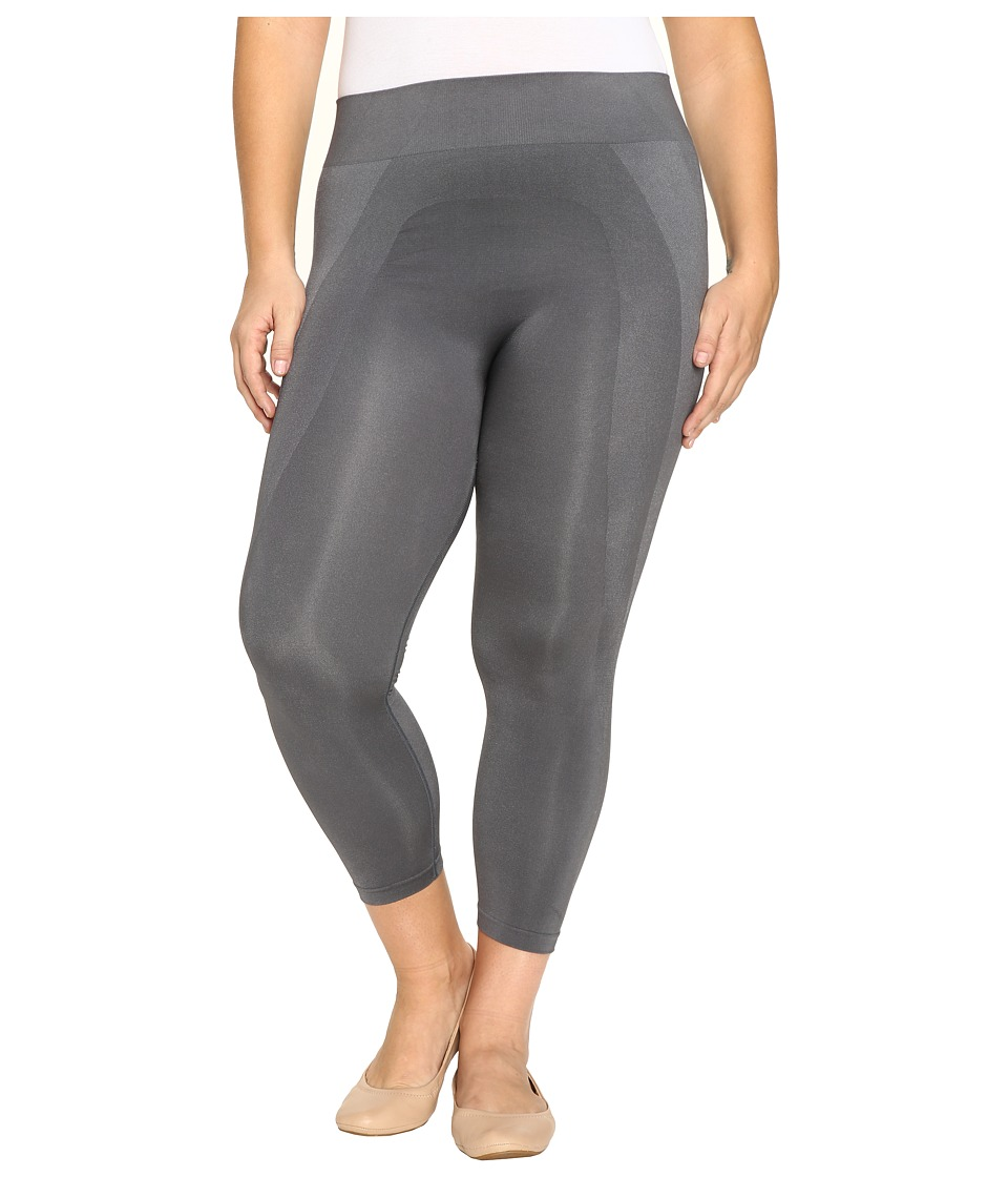 HUE - Plus Size Seamless Shaping Capris (Thunder) Women's Capri