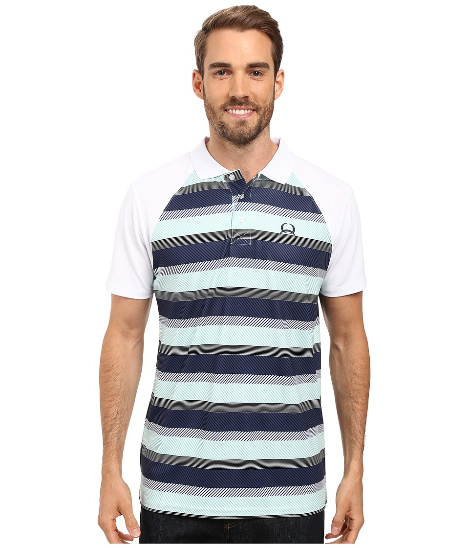 Cinch - Athletic Tech Polo Striped (White) Men's Clothing