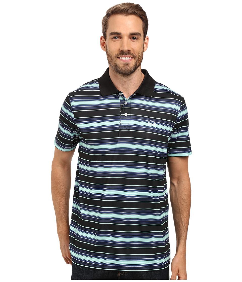 Cinch - Athletic Tech Polo Striped (Black) Men's Clothing