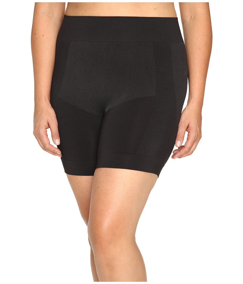 HUE - Plus Size Seamless Shaping Shorts (Black) Control Top Hose