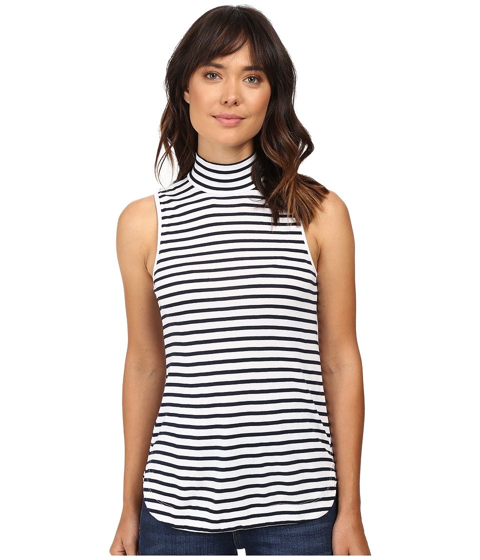 Splendid - 1X1 Stripe Mock Neck Tank Top (White) Women's Sleeveless