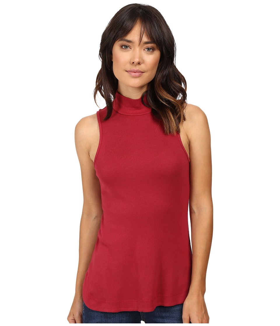Splendid - 1X1 Mock Neck Tank Top (Cranberry) Women's Sleeveless