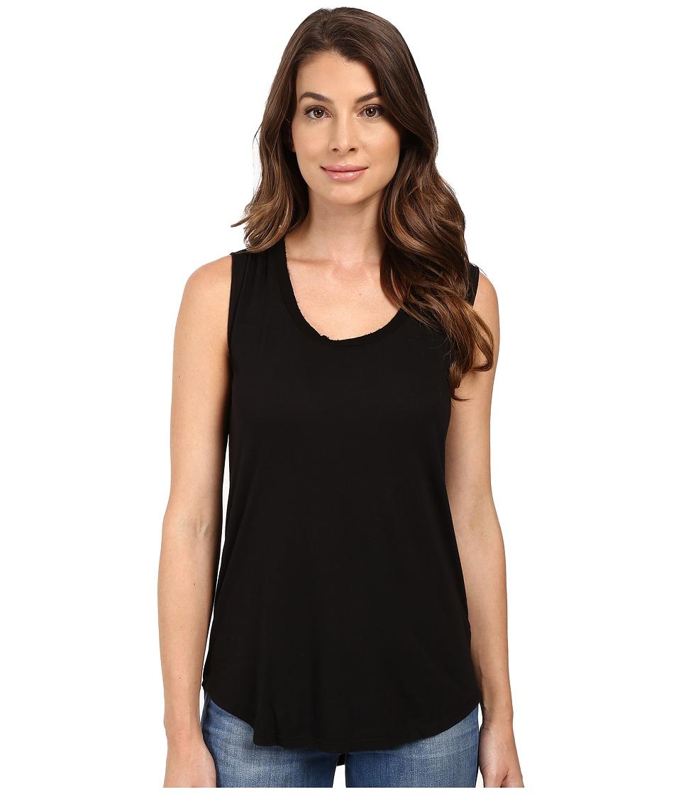 Splendid - Very Light Jersey with Rib Tank Top (Black) Women's Sleeveless