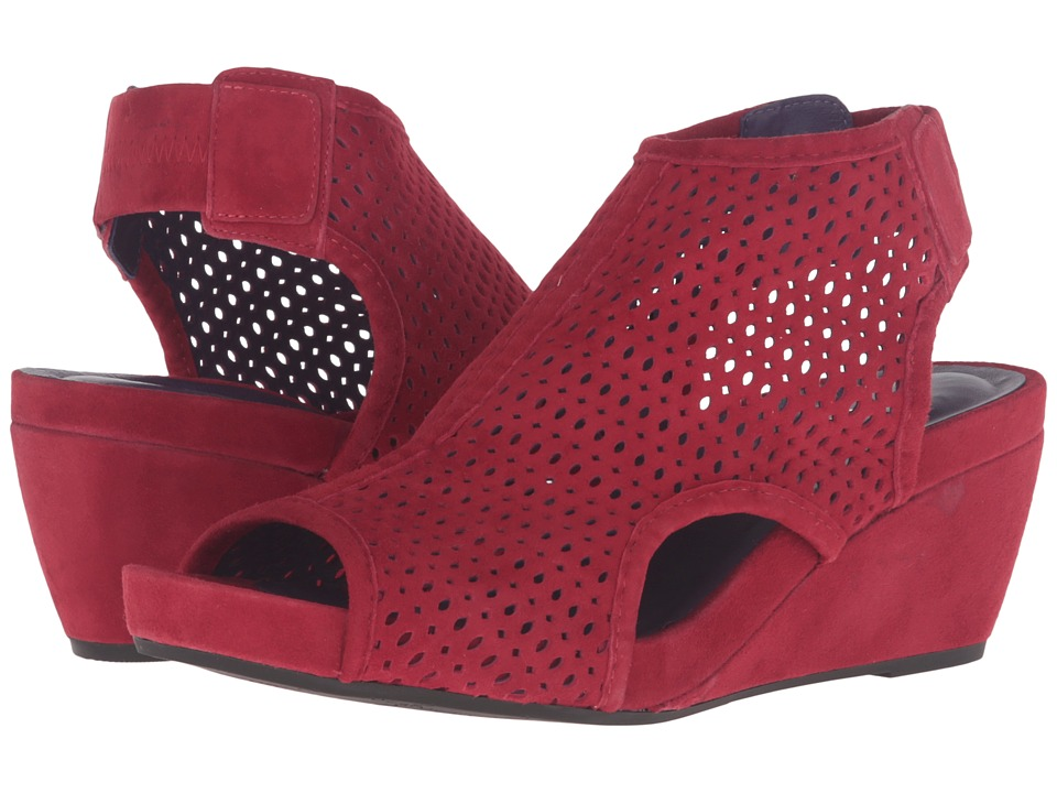 Vaneli - Inez (Red Suede/Gunmetal Studs) Women's Wedge Shoes