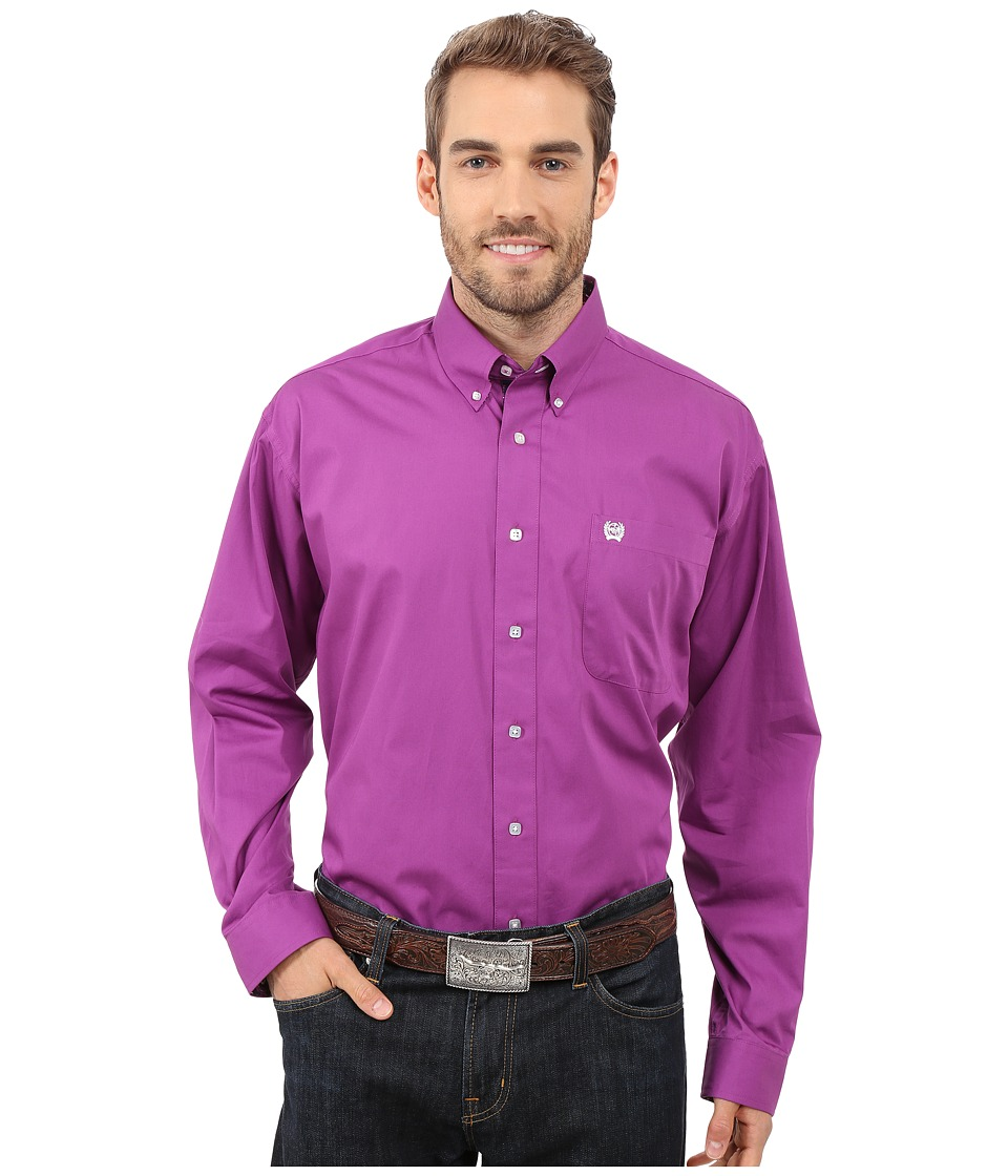 Cinch - Long Sleeve Solid Plain Weave (Purple) Men's Long Sleeve Button Up
