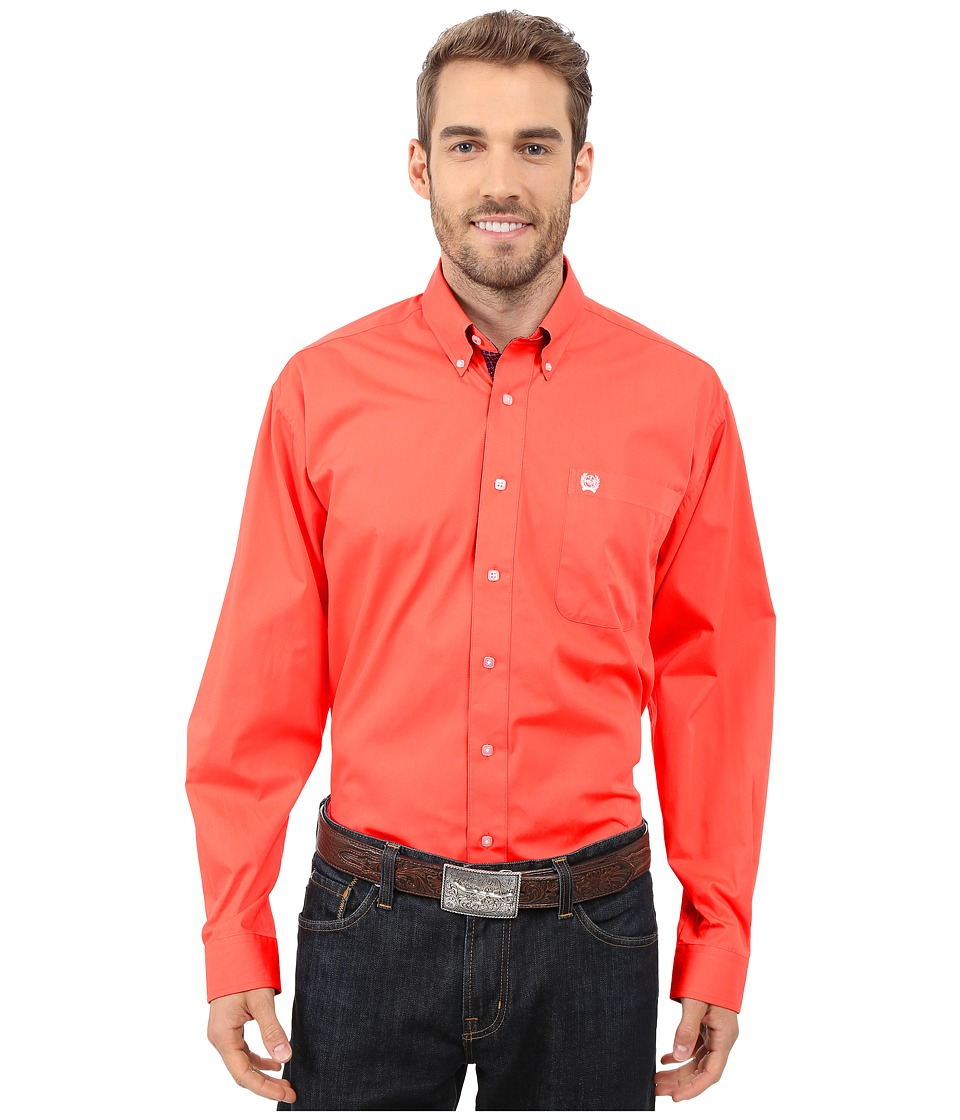 Cinch - Long Sleeve Solid Plain Weave (Coral) Men's Clothing