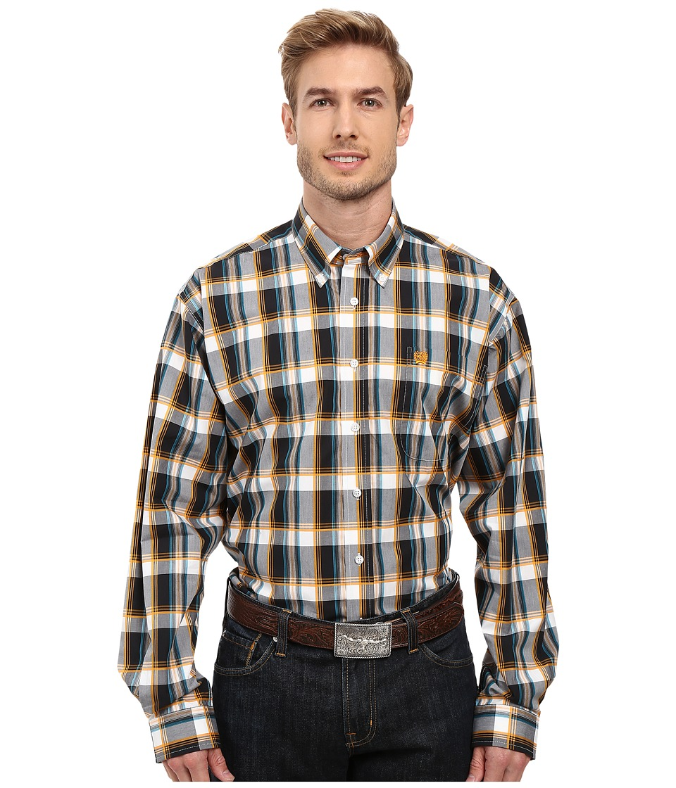 Cinch - Long Sleeve Plain Weave Plaid (Navy) Men's Clothing