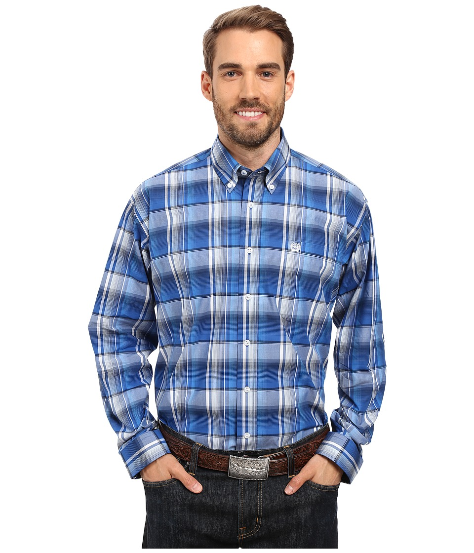 Cinch - Long Sleeve Plain Weave Plaid (Royal) Men's Clothing