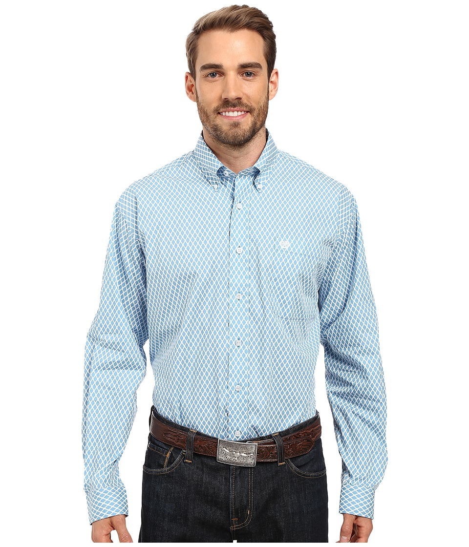 Cinch - Long Sleeve Plain Weave Print (Blue) Men's Clothing