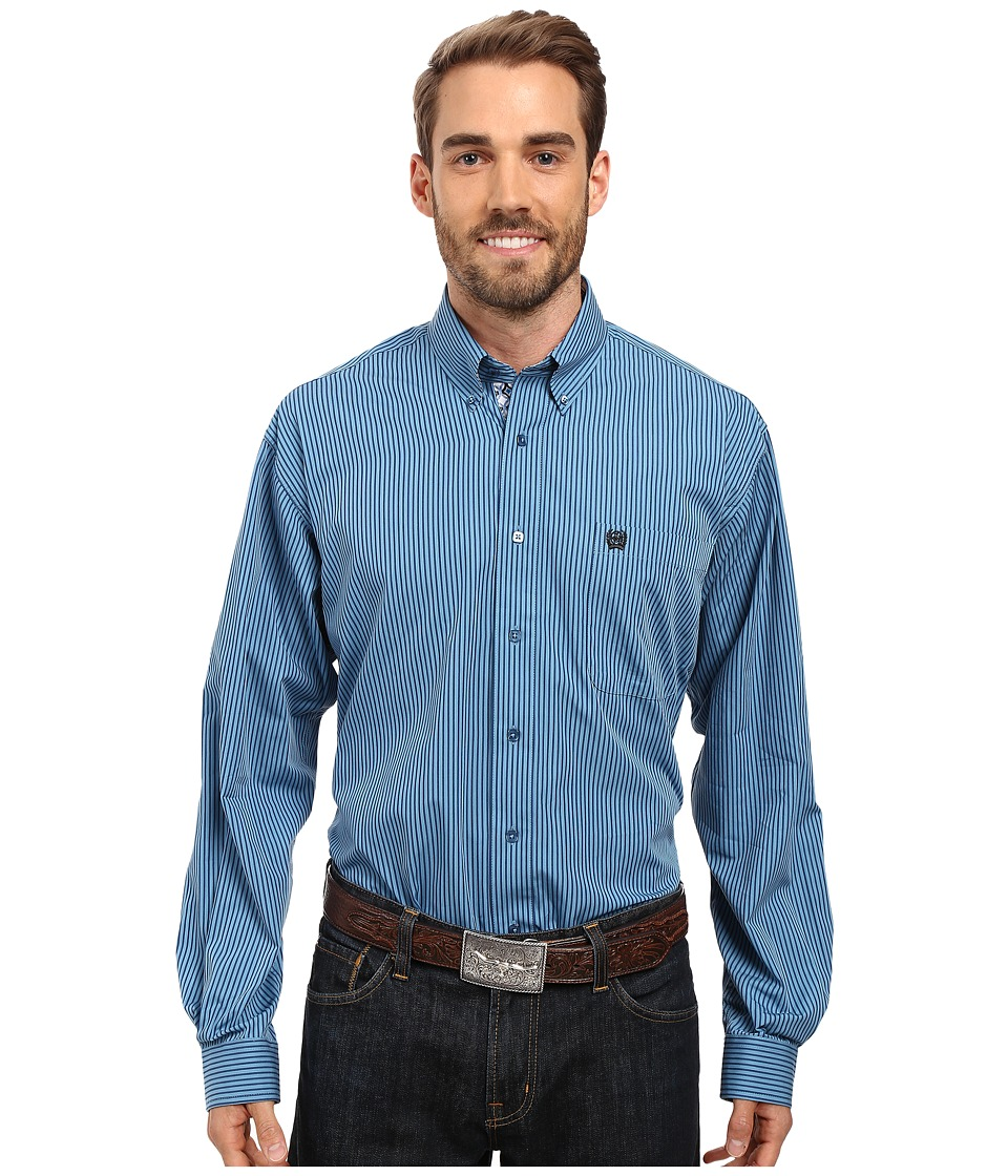 Cinch - Long Sleeve Plain Weave Stripe (Blue) Men's Clothing