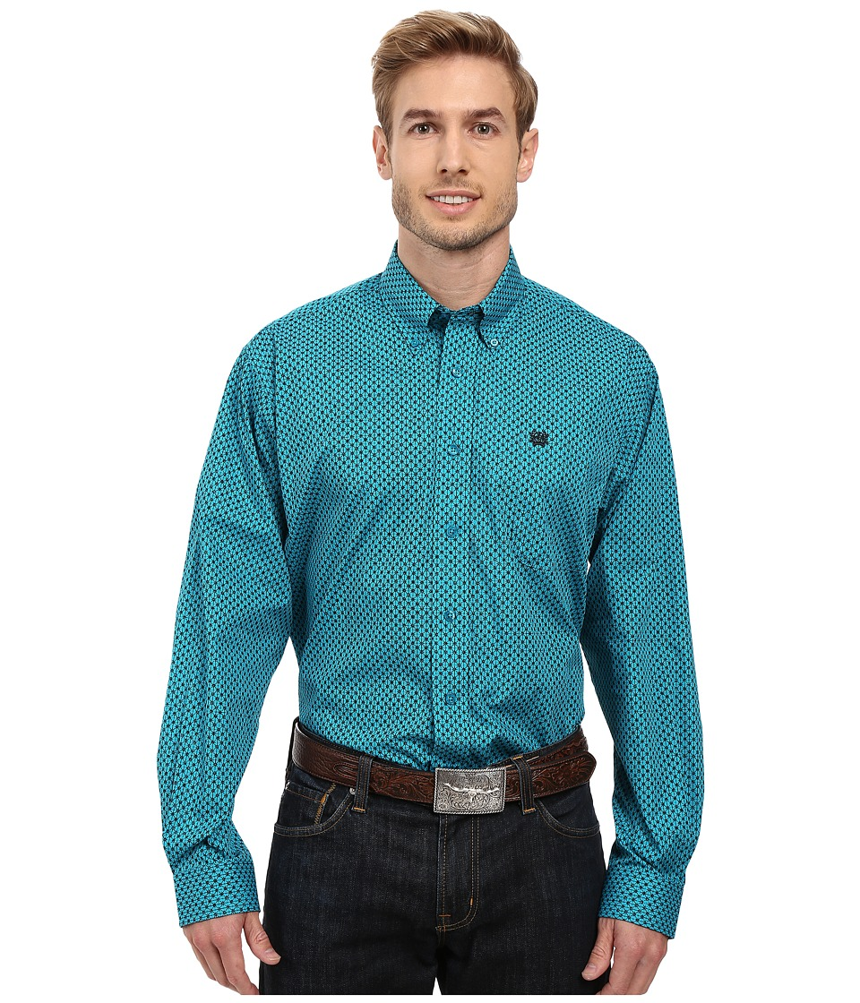 Cinch - Long Sleeve Plain Weave Print (Teal) Men's Clothing