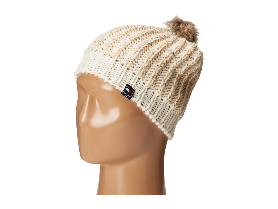 Tommy Hilfiger - Chunky Beaded Beanie with Faux Fur Pom (White) Beanies