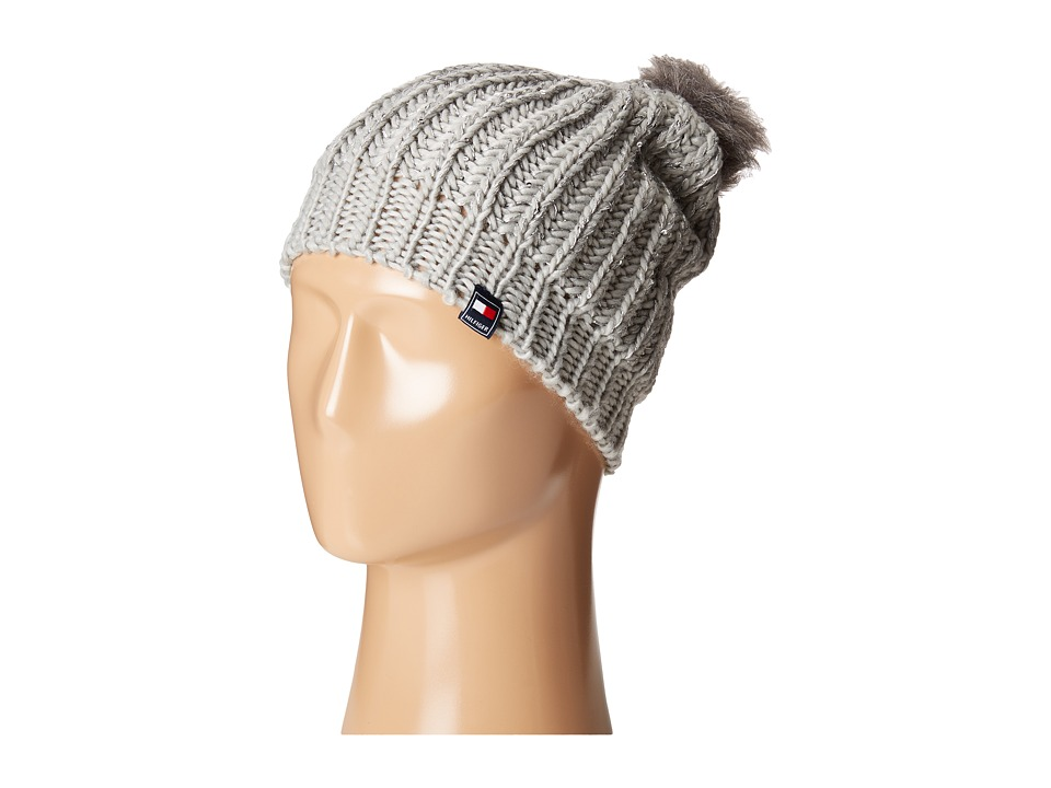 Tommy Hilfiger - Chunky Beaded Beanie with Faux Fur Pom (Silver) Beanies