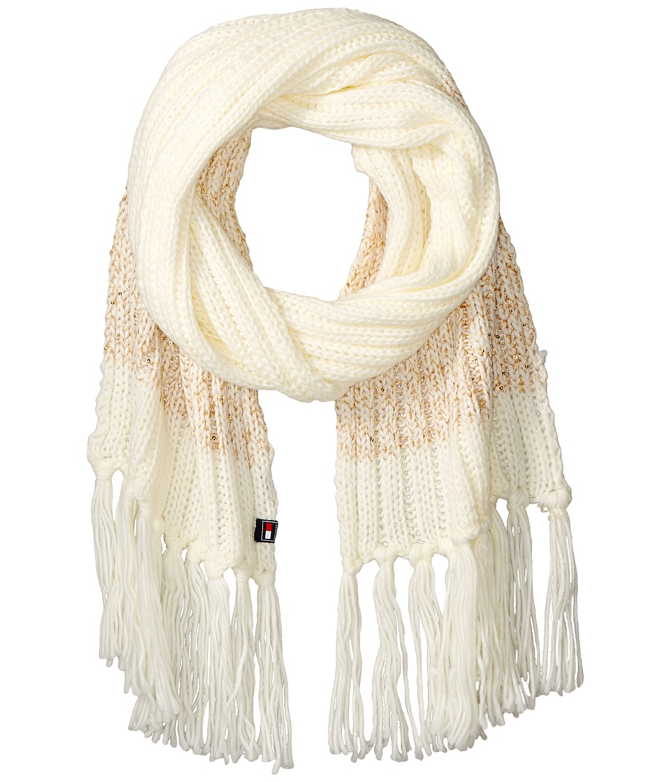 Tommy Hilfiger - Chunky Beaded Border Scarf (White) Scarves