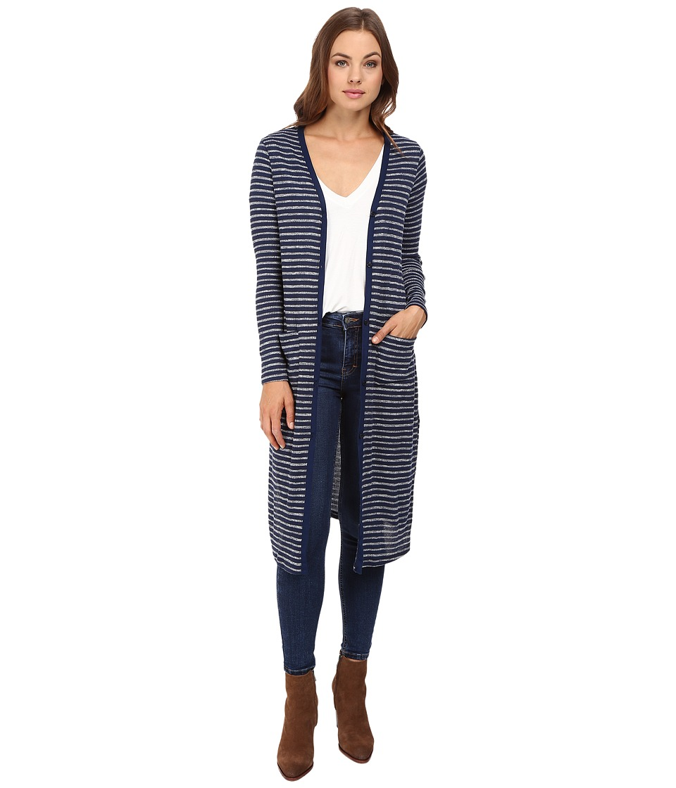 Splendid - Alline Stripe Loose Knit Duster Cardigan (Navy) Women's Sweater