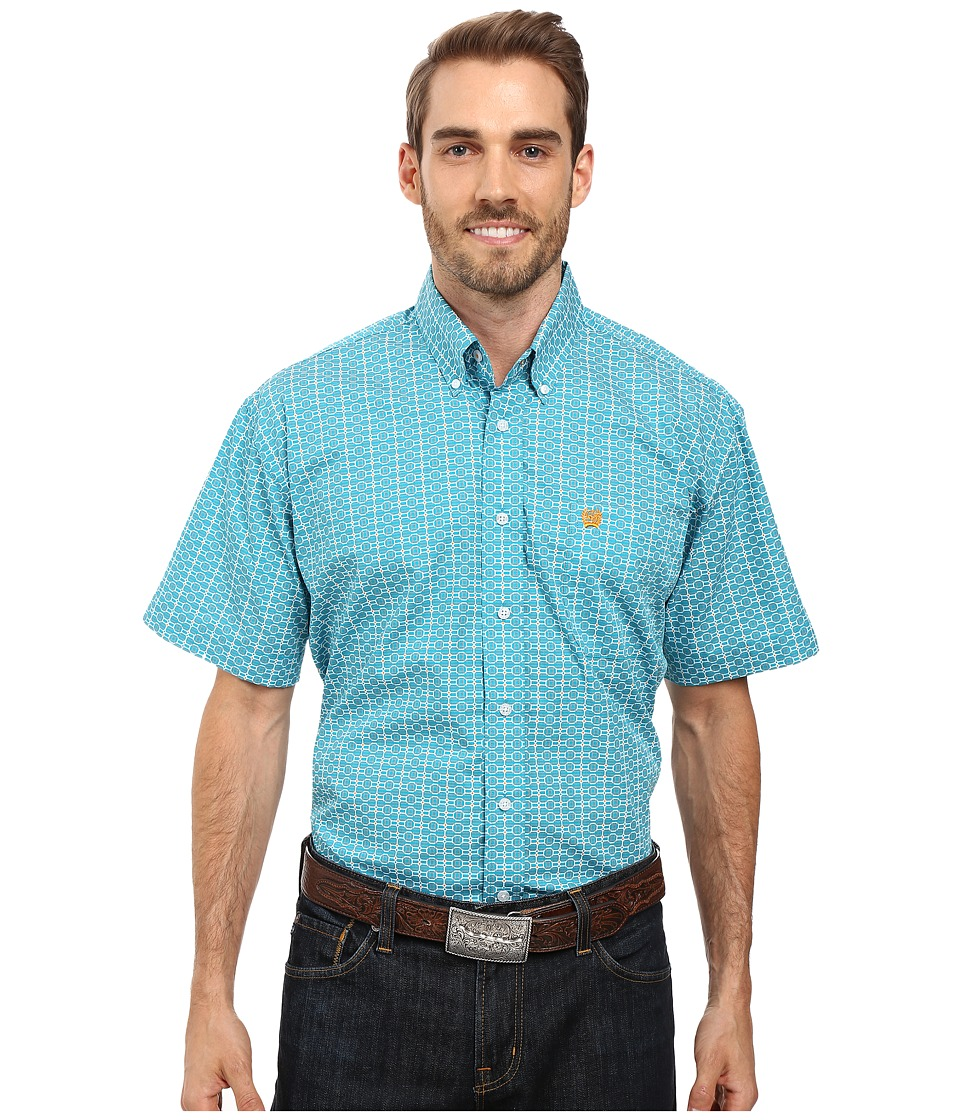 Cinch - Short Sleeve Print (Teal) Men's Clothing