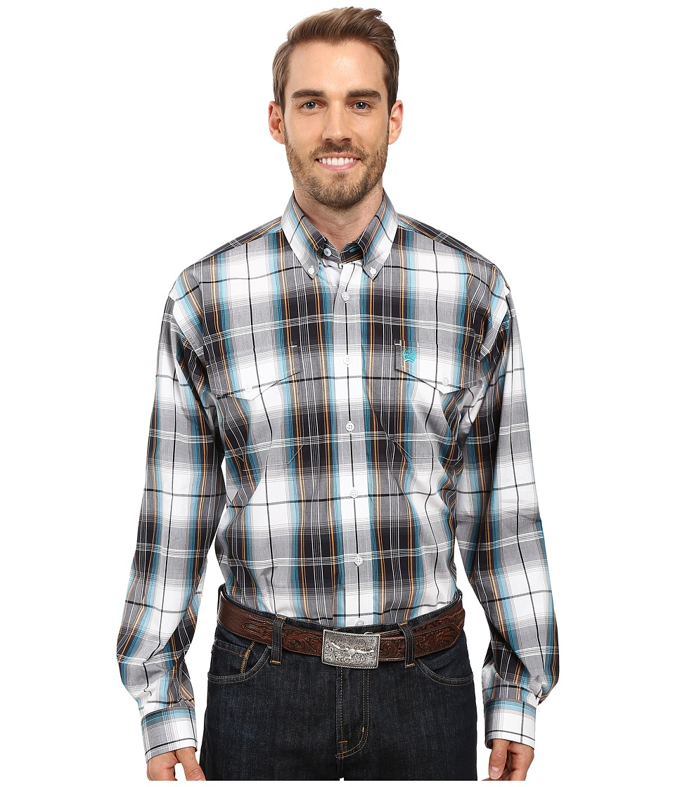 Cinch - Long Sleeve Plain Weave Plaid Double (Navy) Men's Clothing