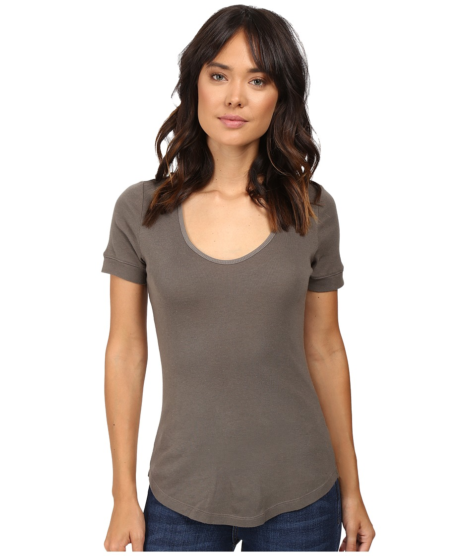 Splendid - 1X1 Scoop Neck Tee (Military Olive) Women's T Shirt