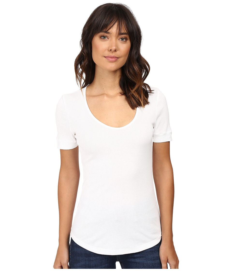 Splendid - 1X1 Scoop Neck Tee (White) Women's T Shirt