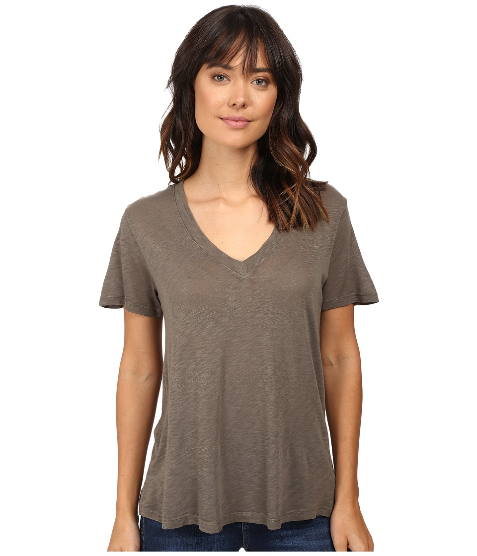 Splendid - Slub Jersey V-Neck (Military Olive) Women's Short Sleeve Pullover