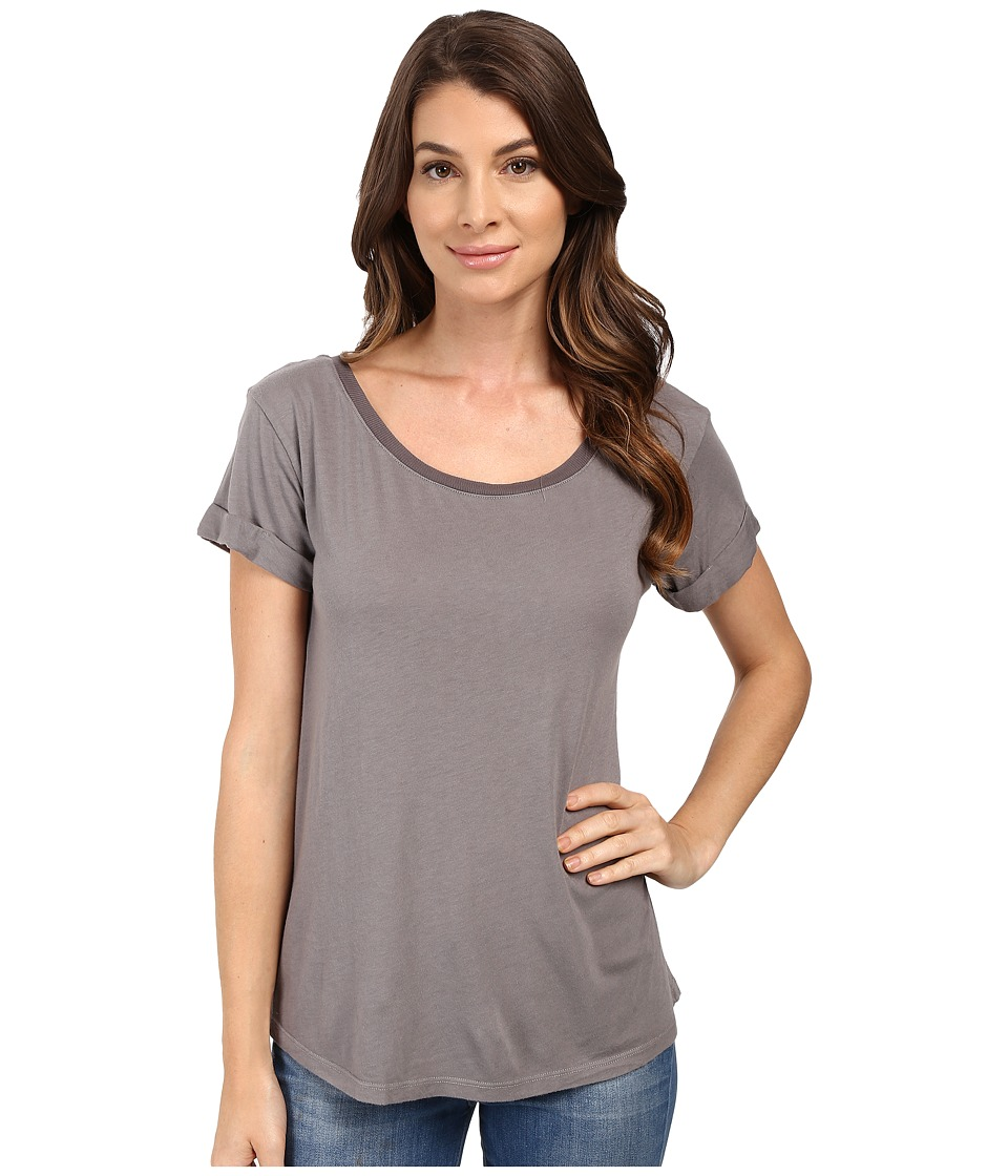 Splendid Very Light Jersey with Rib Tee (Titanium) Women