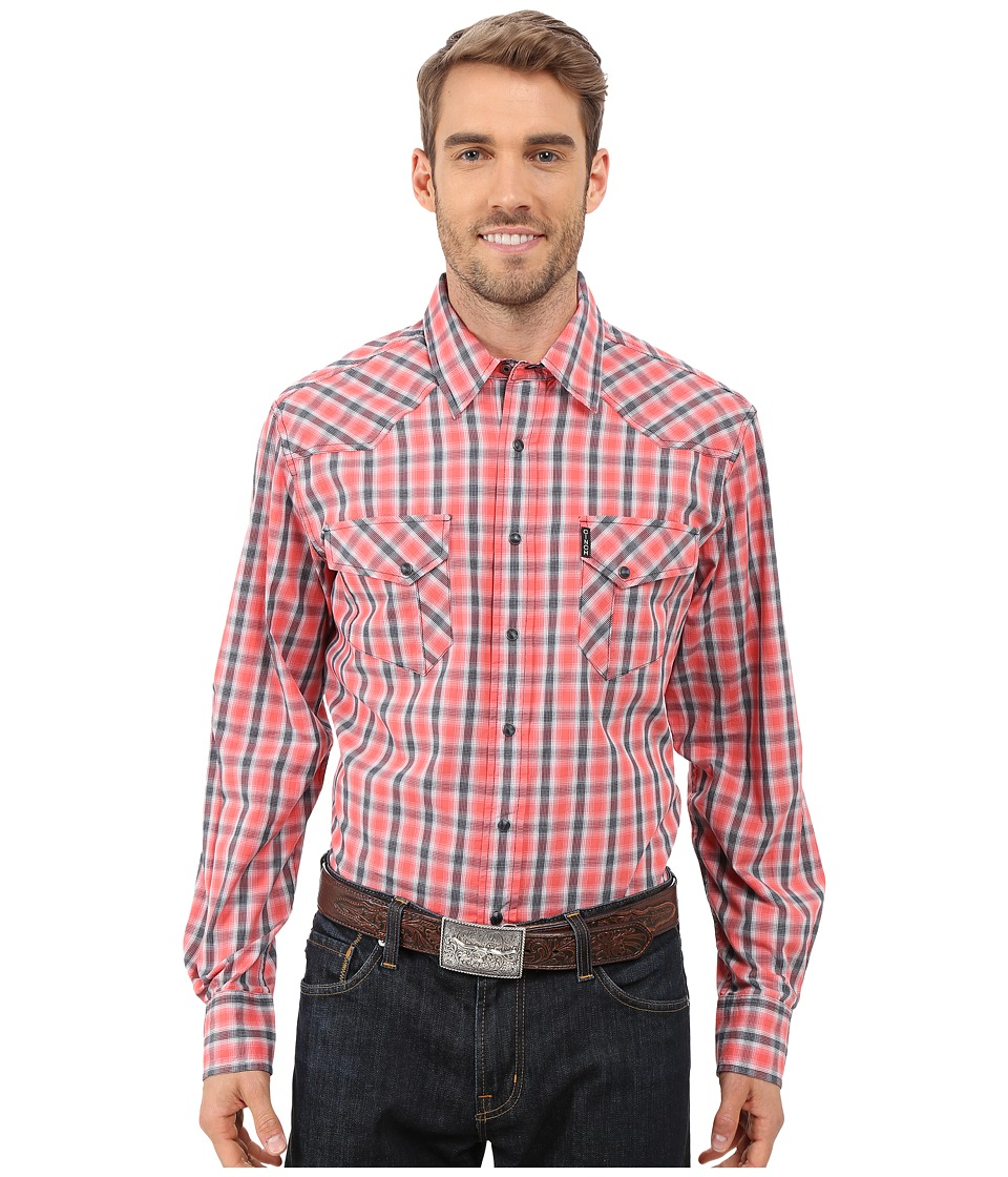 Cinch - Modern Fit Western Plain (Coral) Men's Long Sleeve Button Up