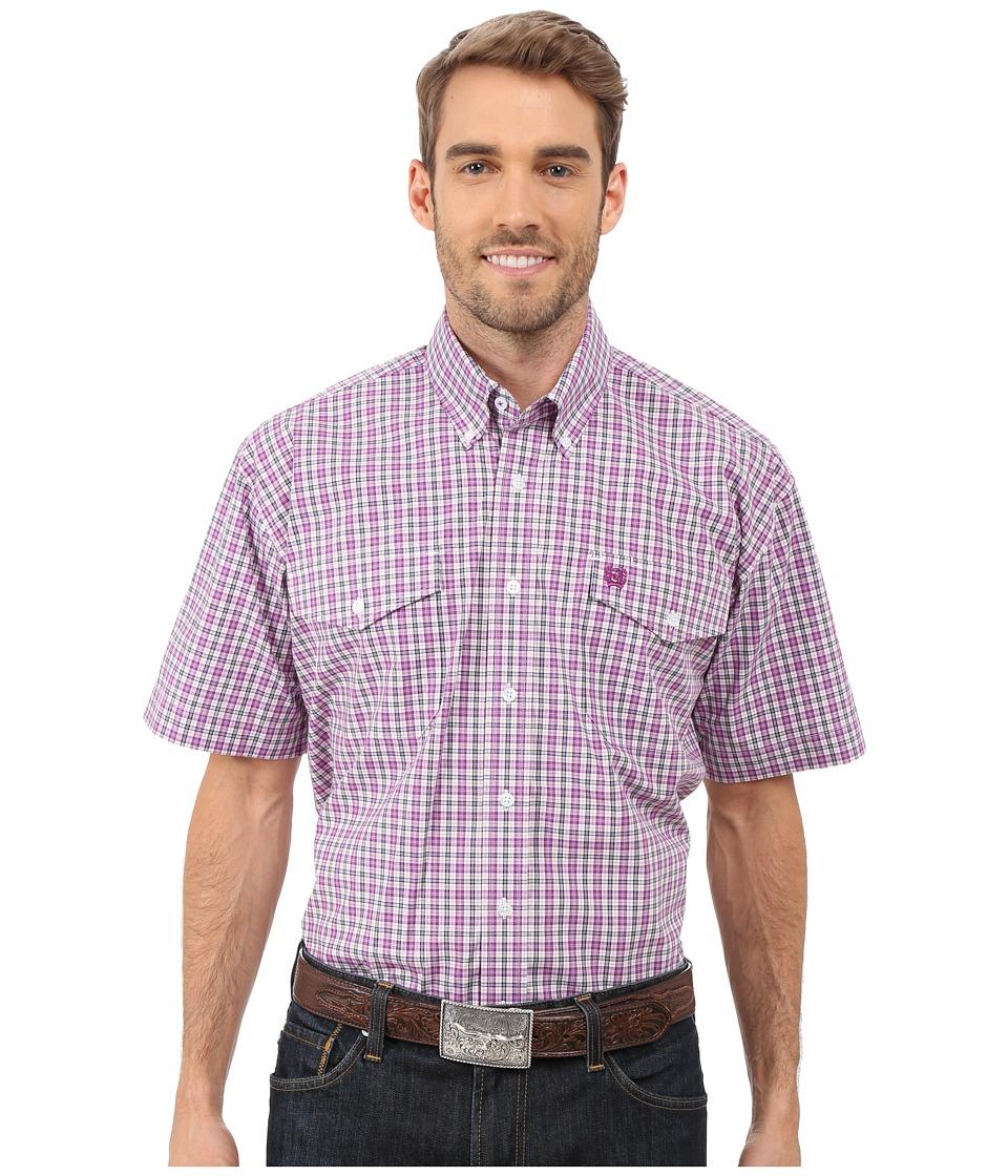 Cinch - Short Sleeve Plain Weave Plaid Double (White) Men's Short Sleeve Button Up