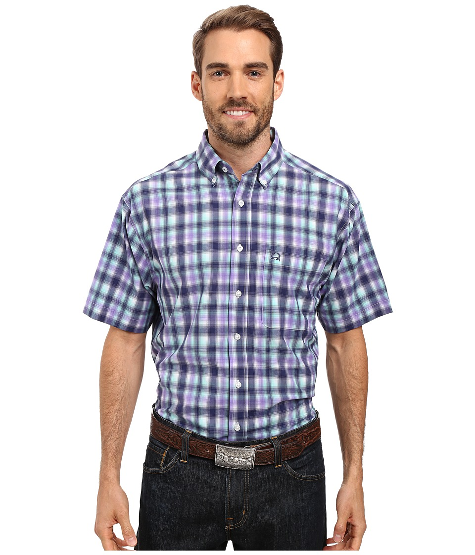 Cinch - Athletic Plaid Short Sleeve (Purple) Men's Clothing