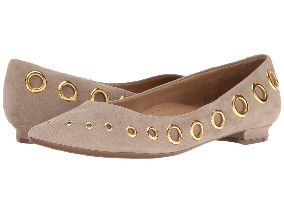 Vaneli - Subira (Truffle Suede/Gold Trim) Women's Flat Shoes