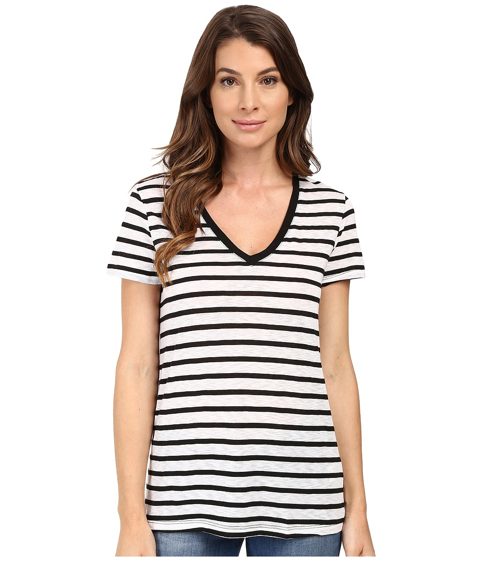 Splendid - Cerine Slub Stripe V-Neck (White/Black) Women's Clothing