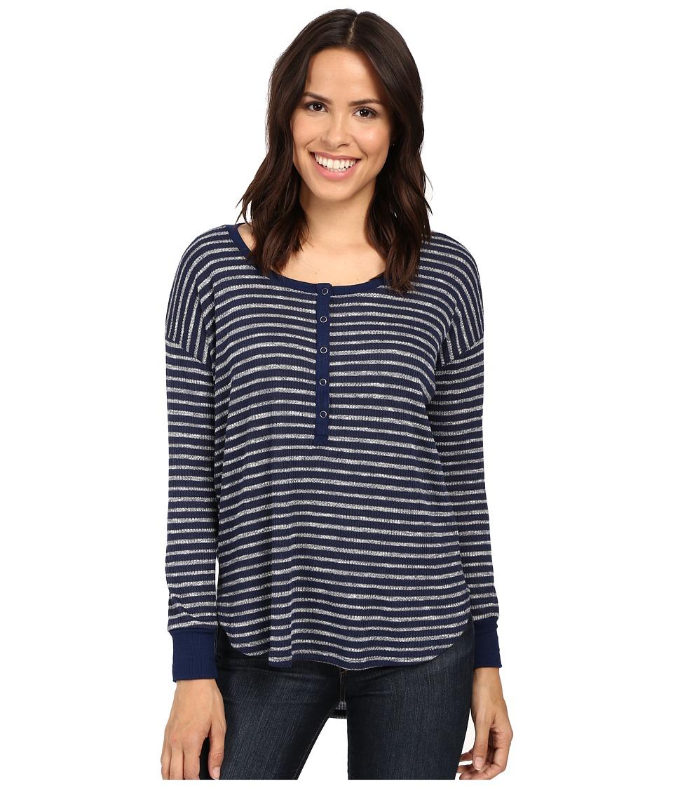 Splendid - Alline Stripe Loose Knit Henley (Navy) Women's Clothing
