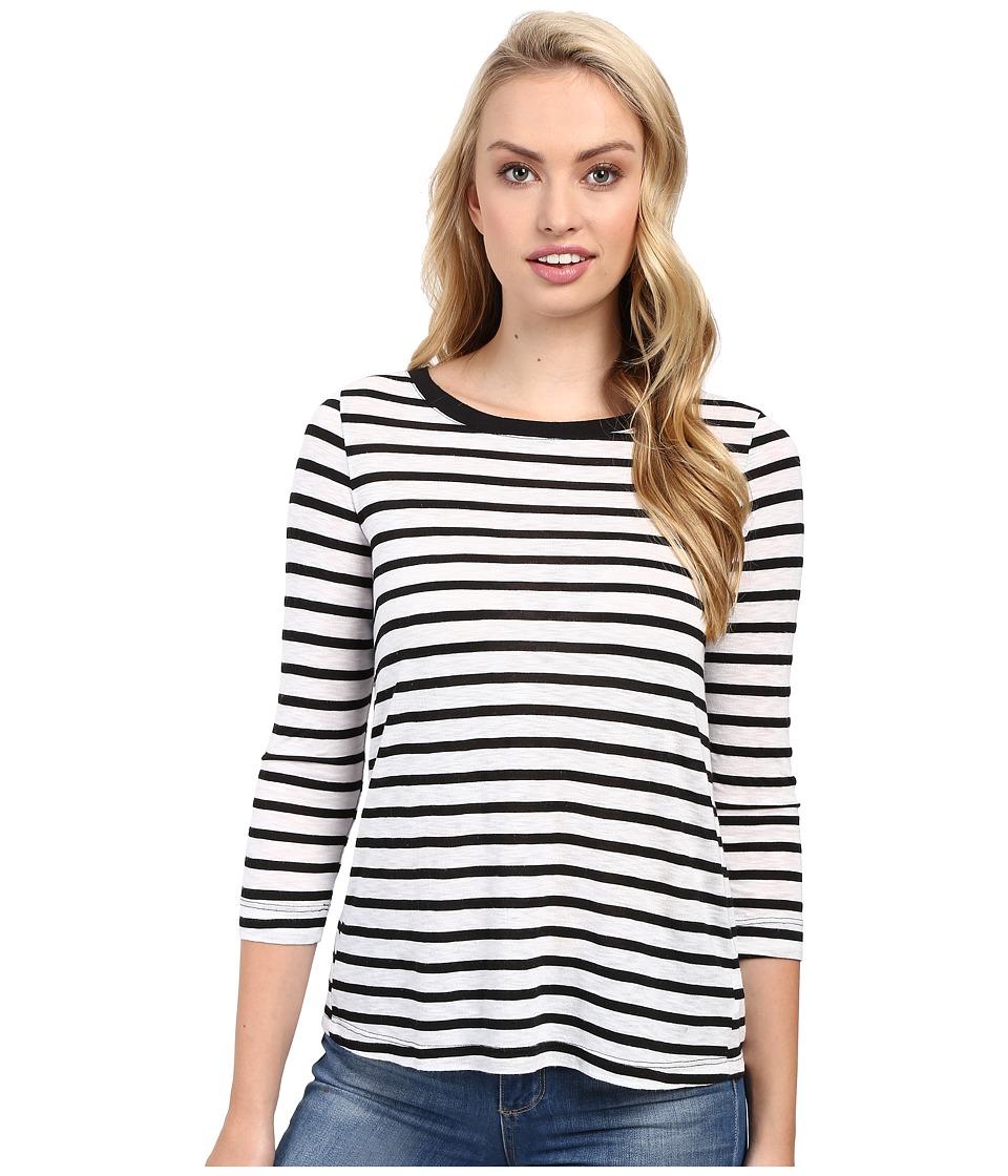 Splendid - Cerine Slub Stripe Button Back (White/Black) Women's Clothing