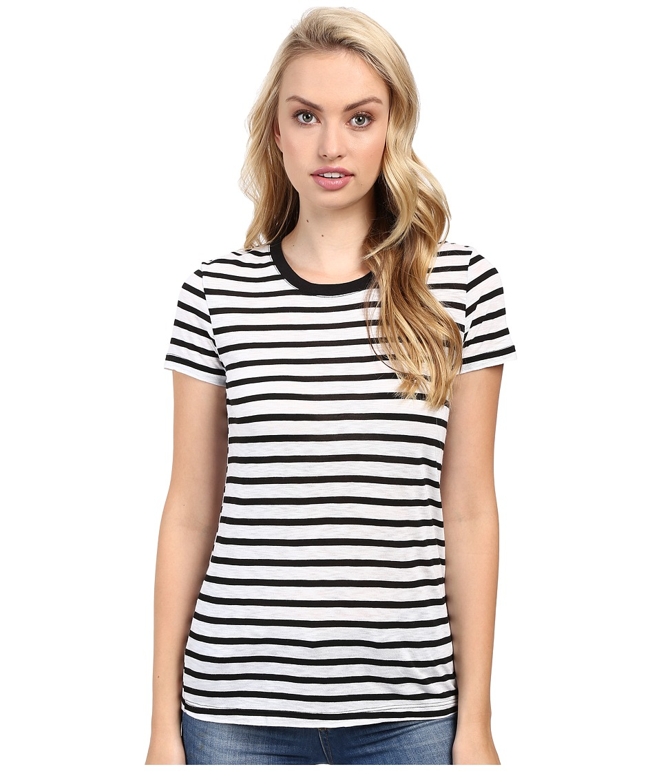 Splendid - Cerine Slub Stripe Crew Neck (White/Black) Women's Clothing