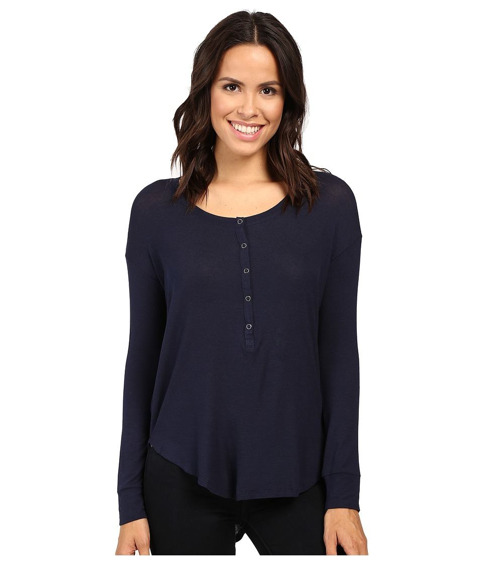 Splendid - Drapey Lux Henley (Navy) Women's Clothing