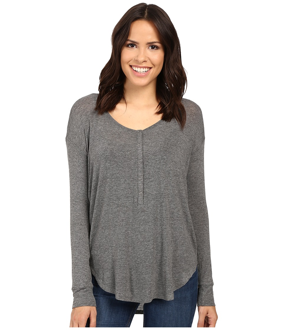 Splendid - Drapey Lux Henley (Steel) Women's Clothing